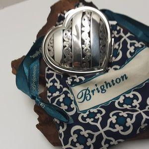BRIGHTON SILVER HEART MIRROR with SILK BAG